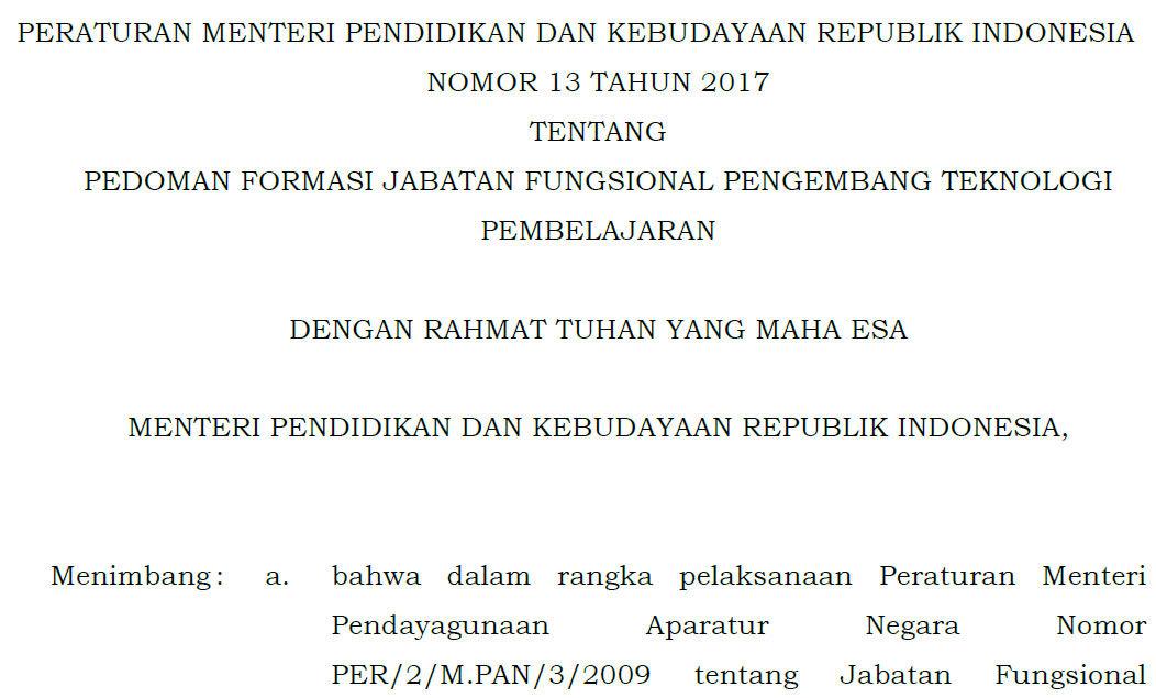 Permendikbud Nomor  Tentang Pedoman Formasi Jabatan Fungsional
