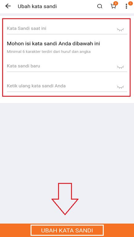 Mengubah Kata Sandi Akun Lazada Melalui Smartphone.