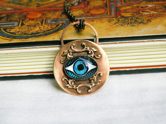 All-Seeing Eye Crystal Ball Antiqued Brass Pendant, Vintage Czech Glass