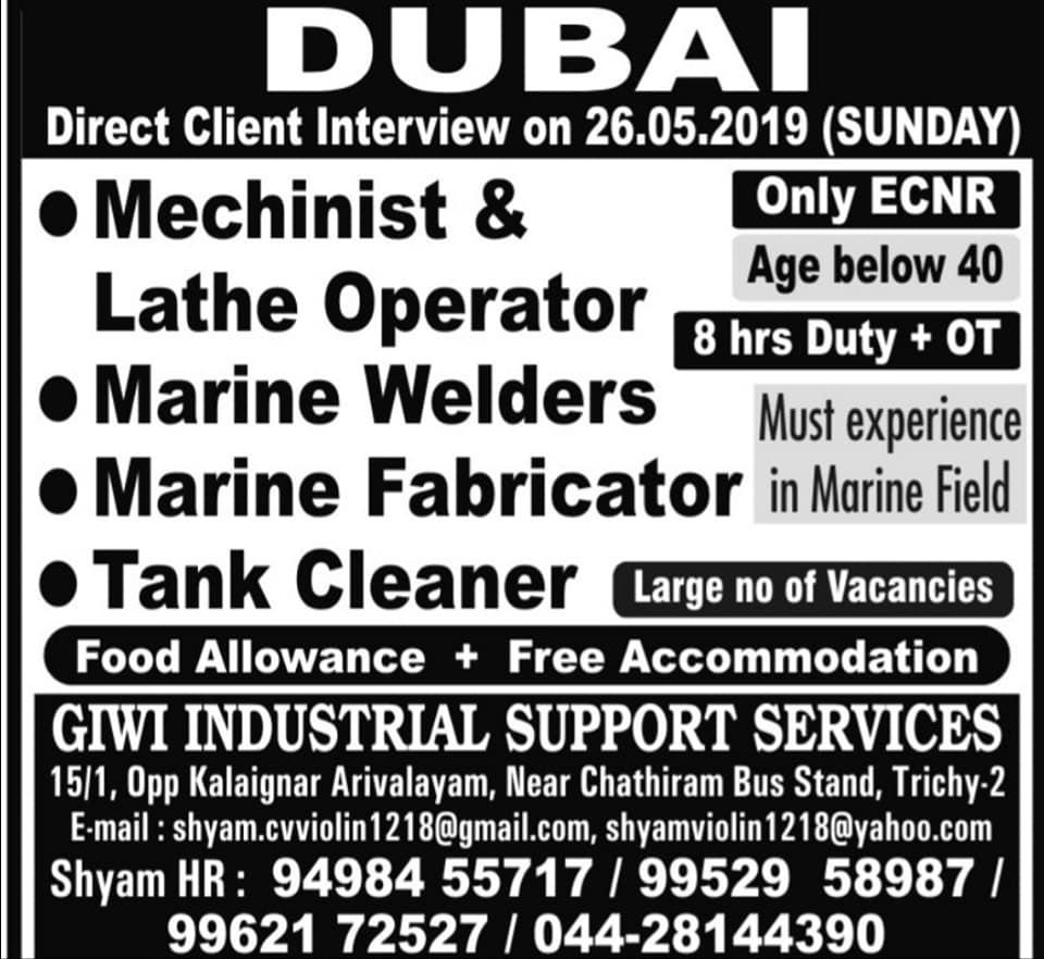 Marine Jobs in Dubai – Free food & accommodation – GCC JOBS