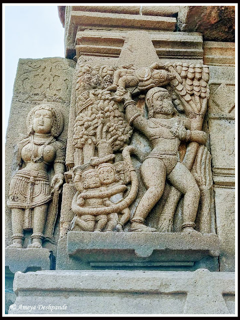 Lord Hanuman destroying Ashokavan at Palasnath Temple