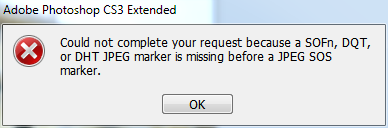 Could not complete your request because a SOFn, DQT, or DHT JPEG marker is missing before a JPEG SOS marker.