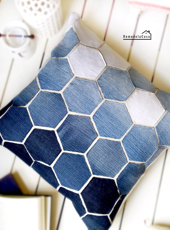 Ombre effect with jean hexagons on pillow cover