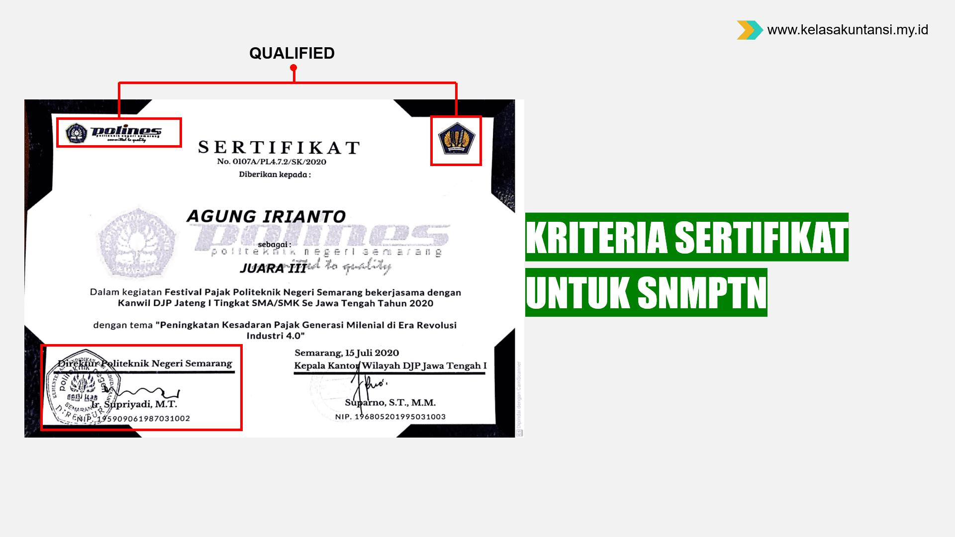 Jenis dan Kriteria Sertifikat untuk SNMPTN 2022