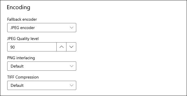 """خيارات """"التشفير"""" في وحدة PowerToys Image Resizer."""