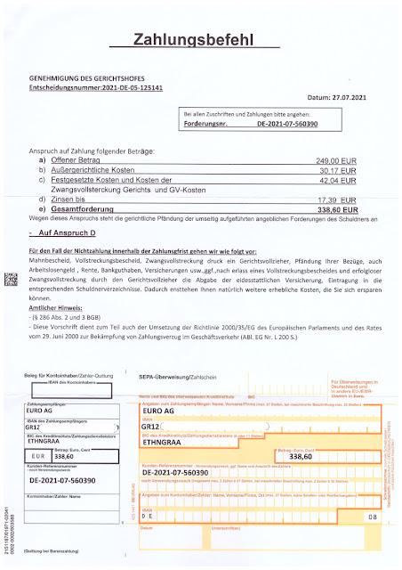 Scan: Köln Euro Inkasso AG Forderung / Seite 02 / Juli 2021