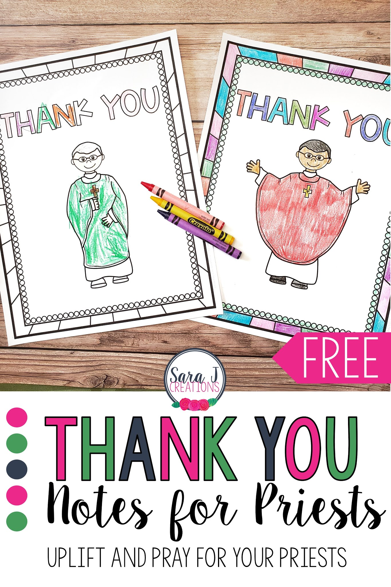 Help your students stay connected to the members of their church with these FREE thank you cards for priests!