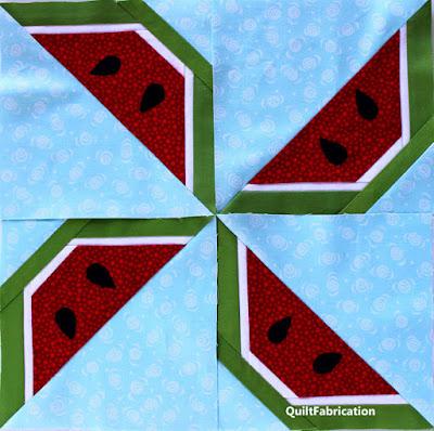 red watermelon wedge pinwheel block