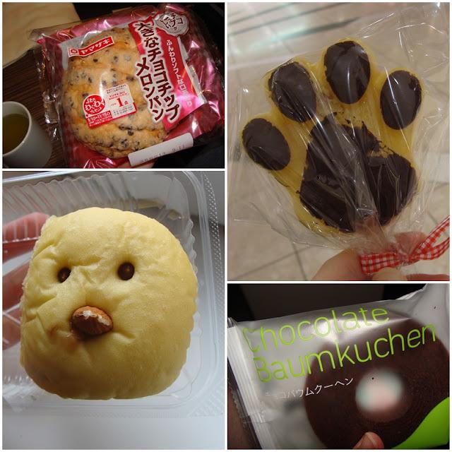 Japanische Backwaren: Melonpan, Katzentatze, Küken mit Mandelschnabel, Baumkuchen