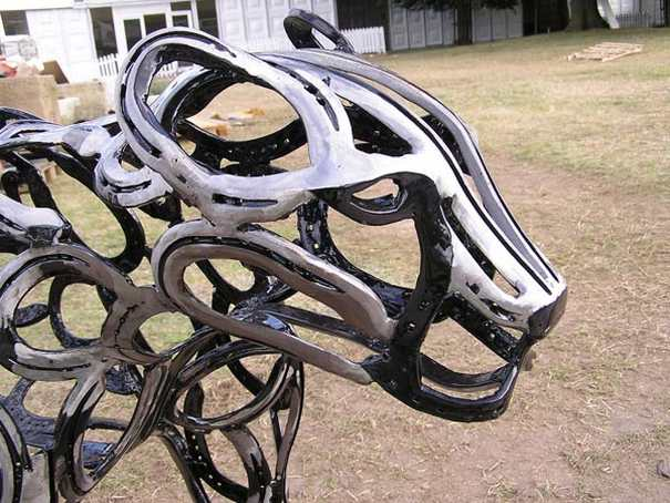 Horseshoe sculptures by Tom Hill