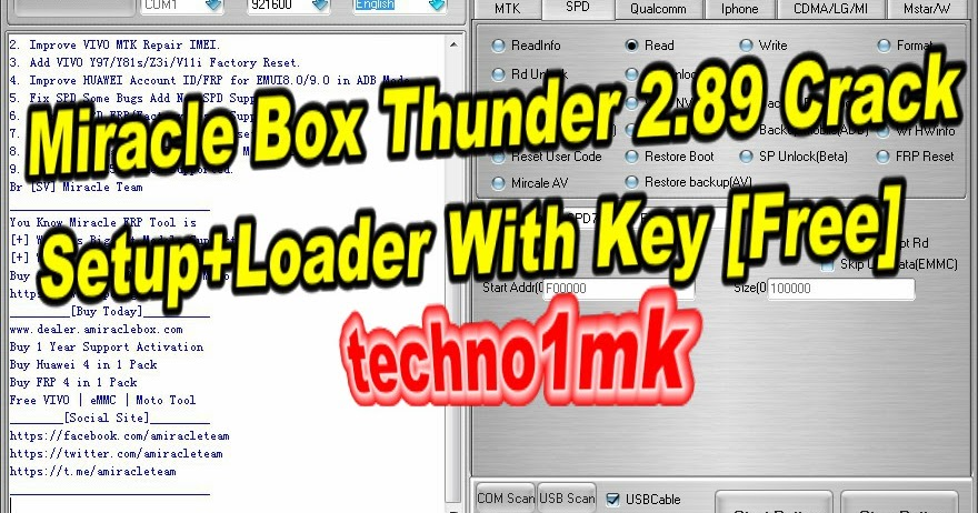 Miracle Box Thunder 2 89 no box Setup+Loader With Key Free 2019