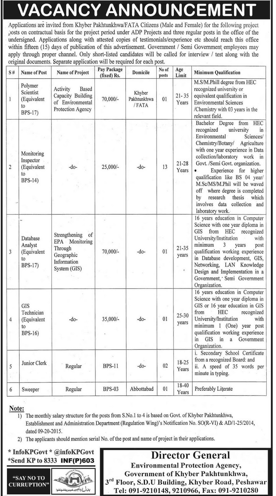 Jobs In Environmental Protection Agency KPK 2017