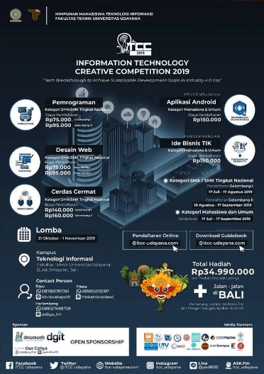 Lomba Teknologi Informasi Nasional UNUD ITCC 2019 Untuk SMA Sederajat & Mahasiswa