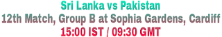 Sri Lanka vs Pakistan 12th Match, Group B at Sophia Gardens, Cardiff 15:00 IST / 09:30 GMT