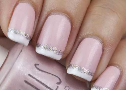 Glittering French Nails With Designs