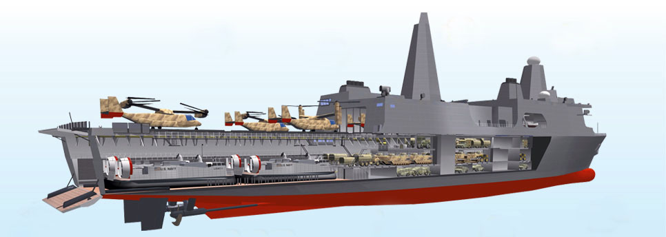 Cutaway drawing of ship.