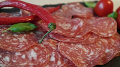 Sliced Salami and Thai Red Peppers