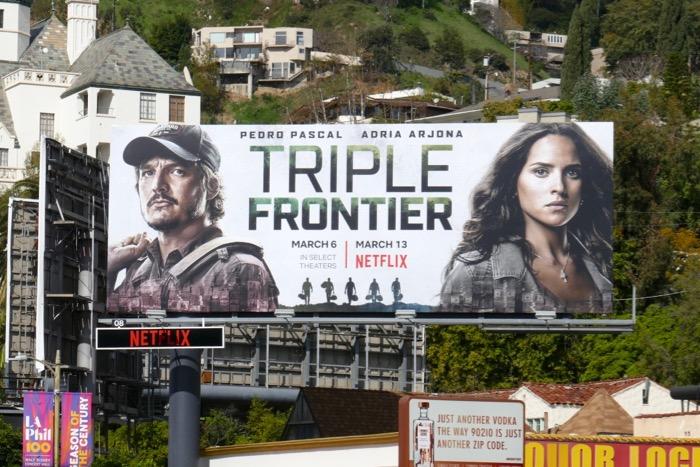 Pedro Pascal Adria Arjona Triple Frontier billboard