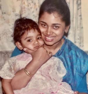 little Sanjana Ganeshan with her mother