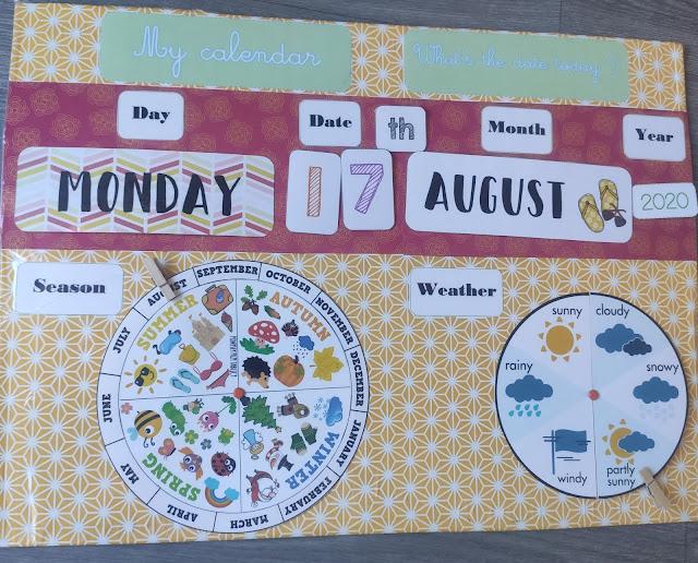 calendrier perpétuel anglais enfant maternelle primaire diy