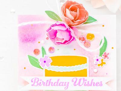 Birthday Wishes - Watercolors and Cake | Pinkfresh Studio