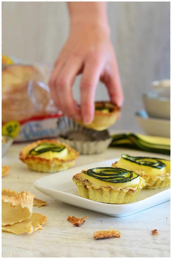 receta de mini chique- tartaletas saladas de calabacín- como hacer tartaletas saladas con un molde- mini tartaletas saladas - cómo hacer tartaletas