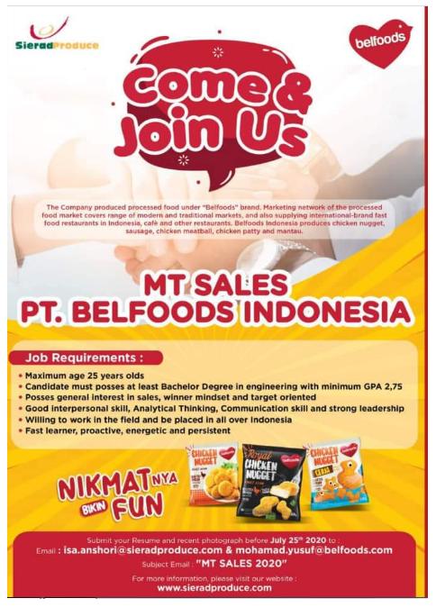 Lowongan Kerja Management Trainee PT Belfoods Indonesia Juli 2020