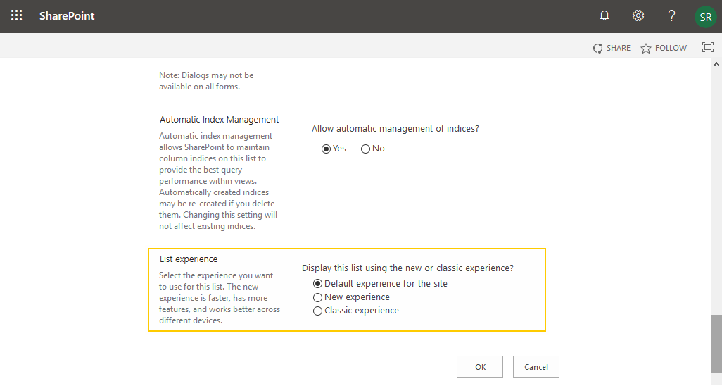 sharepoint online list experience