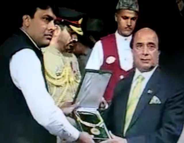 Anwar Malik, Son of Mr. Shams Malik receiving The President's award for Pride of Performance from Governor Punjab Mr. Latif Khosa