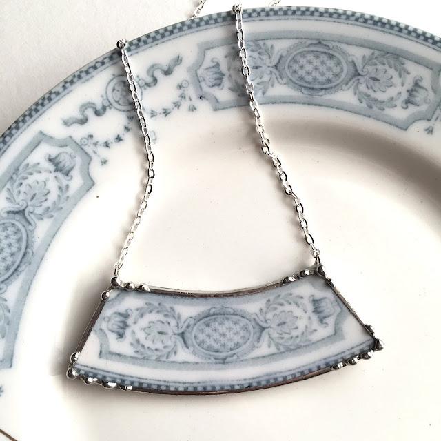 Antique blue porcelain necklace Dishfunctional Designs