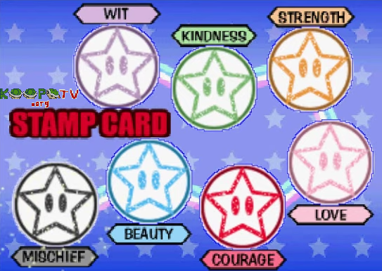 KoopaTV.org Stamp Card Mario Party 3 Wit Kindness Strength Love Courage Beauty Mischief