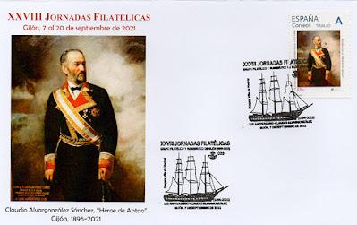 filatelia, matasellos, sello, sobre, Claudio Alvargonzález, fragata Villa de Madrid,  Grupo filatélico, Gijón