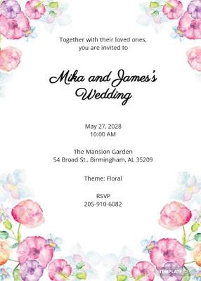 Invitation wedding floral watercolor docx free - zotutorial.com