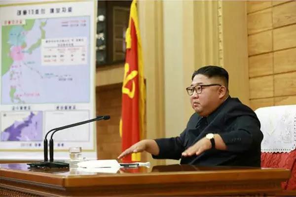 Kim Jong Un at typhoon emergency meeting, September 6, 2019