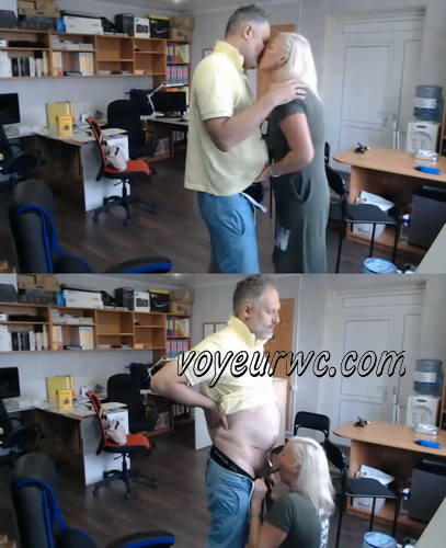 Blonde blows her boss cock in the office - SpyCam (Office sex)