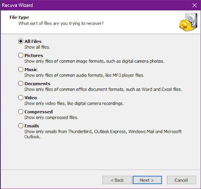 Gambar ilustrasi memilih jenis file yang akan di pulihkan aplikasi recuva