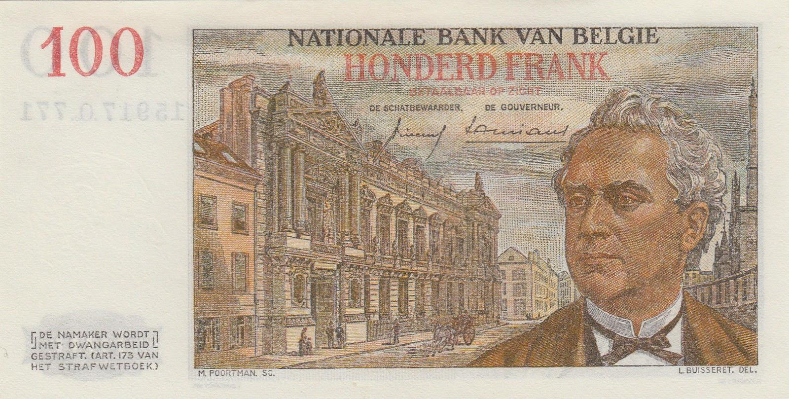 Belgium Banknotes 100 Francs bank note 1959