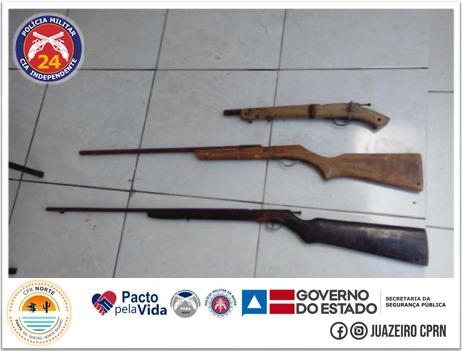 24ª CIPM apreende armas de fogo no município de Várzea Nova
