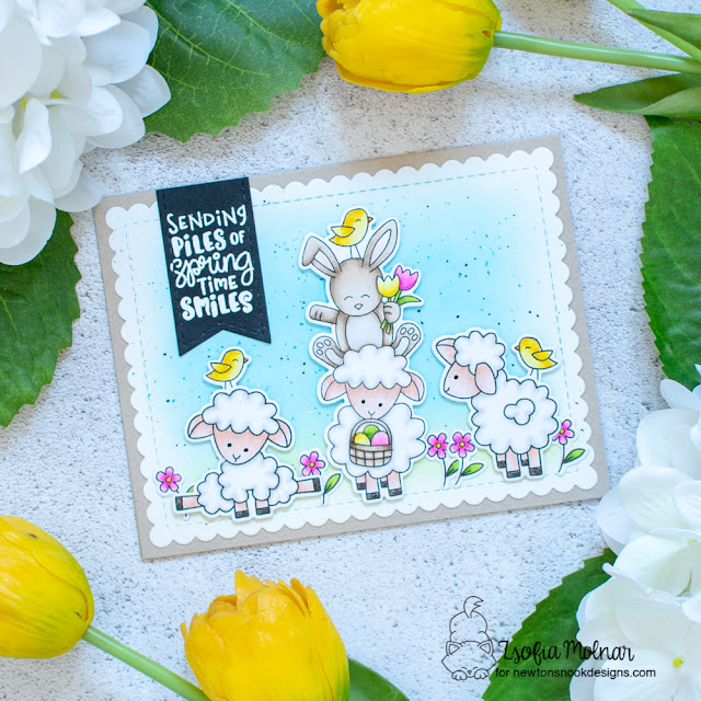 Sheep Spring Card by Zsofia Molnar | Spring Pile Up and Baa Stamp Set and Frames & Flags Die Set by Newton's Nook Designs #newtonsnook #handmade