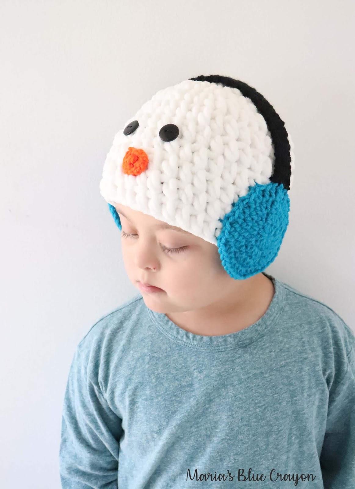 Snowman with Earmuffs Crochet Hat – Free Crochet Pattern for All Sizes fb380e5e154c