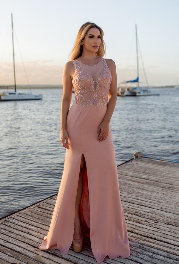 vestido de festa longo rosa justo para madrinha de casamento