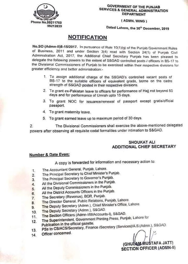 DELEGATIONS OF POWERS TO DIVISIONAL COMMISSIONERS TO EXTENT OF S&GAD CONTROLLED POSTS IN BS-17