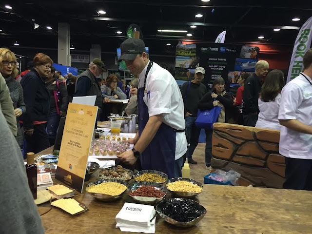 Preparing Arizona inspired salads at the Chicago Travel and Adventure Show.