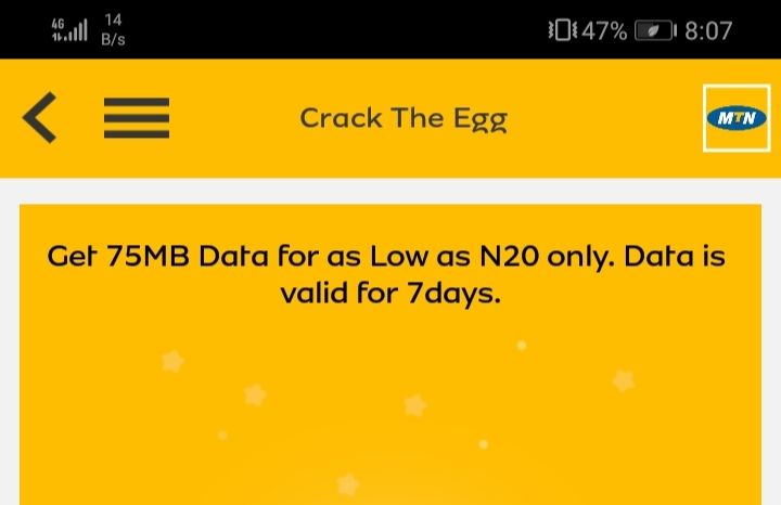 MTN n20 for 75mb valid for 7days droidvilla