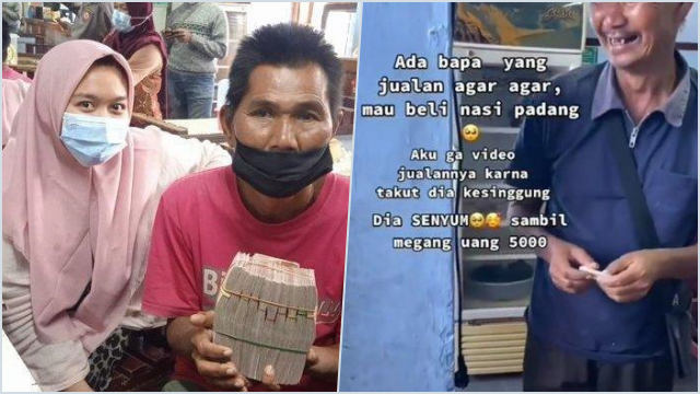 Nasib Penjual Agar-agar yang Viral Beli Nasi Padang Rp5 Ribu, Kini Dapat Donasi Rp106 Juta