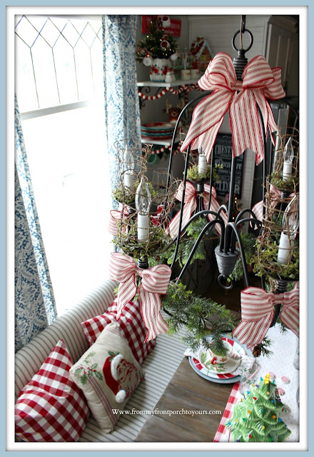 Cottage -Farmhouse -Christmas- Breakfast -Nook-Chandelier-Holiday-Red -Ticking -Stripe- Bows-From My Front Porch To Yours