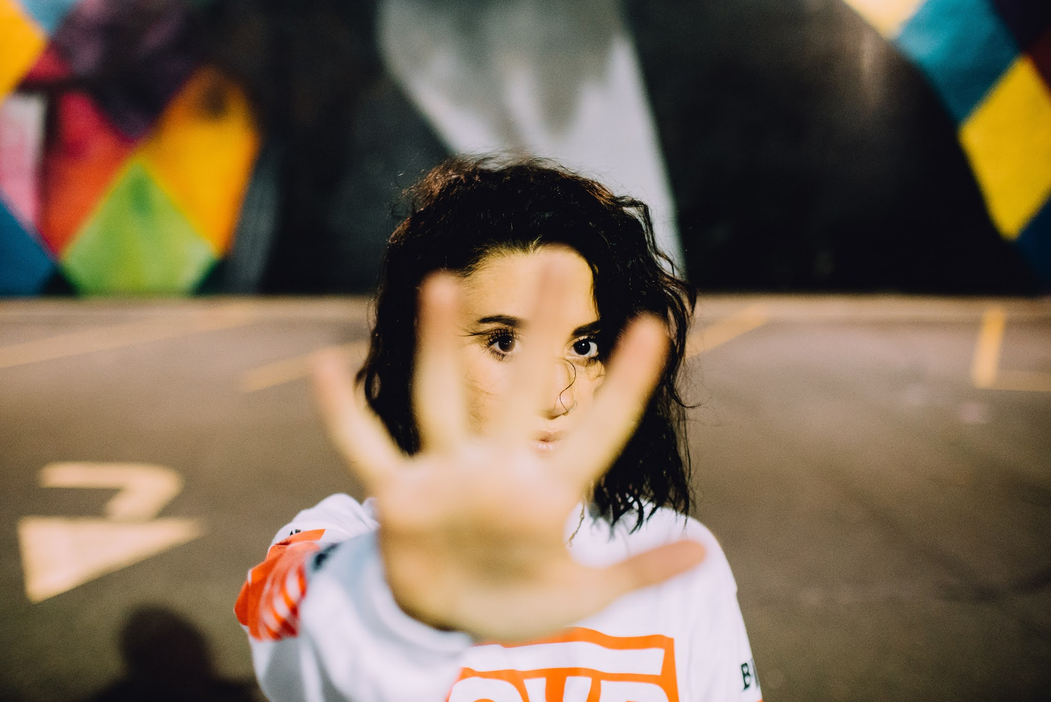 Girl with stop hand gesture