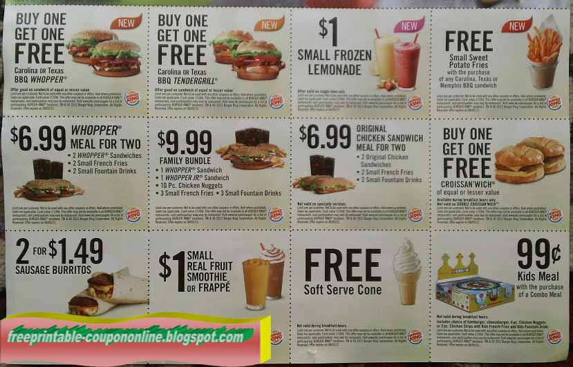 photograph relating to Printable Burger King Application referred to as Absolutely free printable burger king coupon codes 2018 : I9 athletics coupon