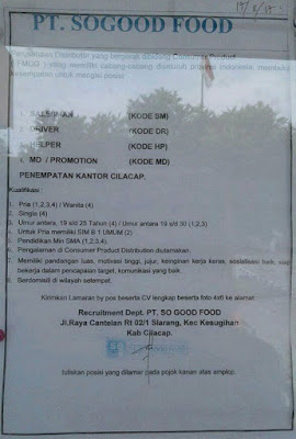 Loker PT So Good Food Cilacap