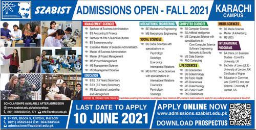 Shaheed Zulfiqar Ali Bhutto Institute Of Science & Technology Karachi Admissions